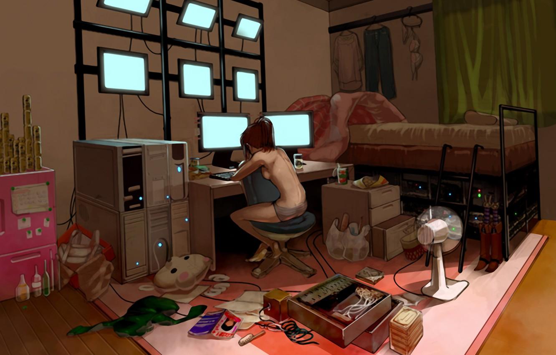 Photo wallpaper room, monitor, computer, Hacker, sysadmin, server