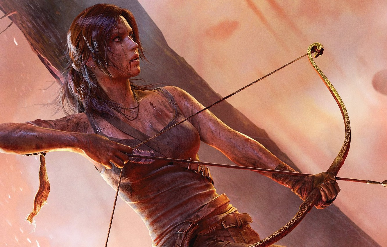 Photo wallpaper weapons, blood, clothing, bow, dirt, Lara Croft, Tomb raider