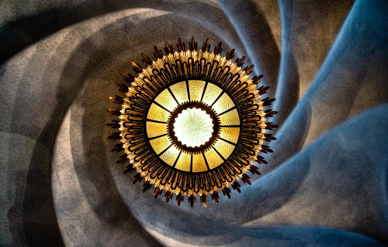 Photo wallpaper light, spiral, chandelier