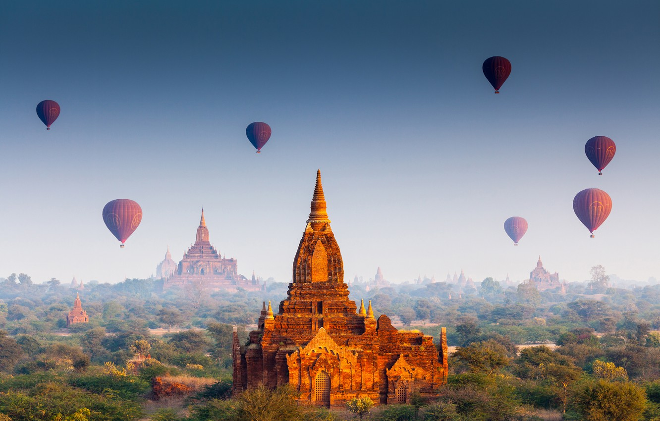 Wallpaper forest, the sun, flight, balloons, temple, forest, architecture,  Palace, old, old town, architecture, palace, Myanmar, Burma, temple, Myanmar  images for desktop, section пейзажи - download