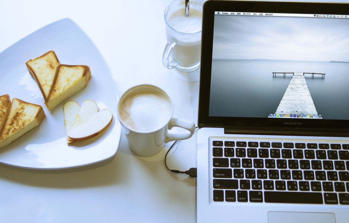 Photo wallpaper Apple, food, laptop, MacBook, cappuccino, cakes, Pro