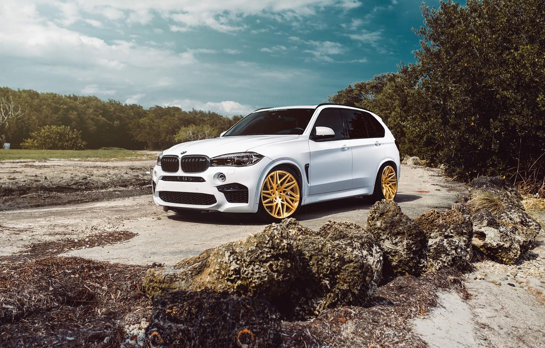 Photo wallpaper BMW, Car, Front, White, SUV, X5M, VELOS