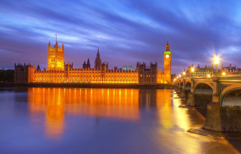 Photo wallpaper night, bridge, city, the city, lights, lights, reflection, river, England, London, building, lighting, lights, UK, …