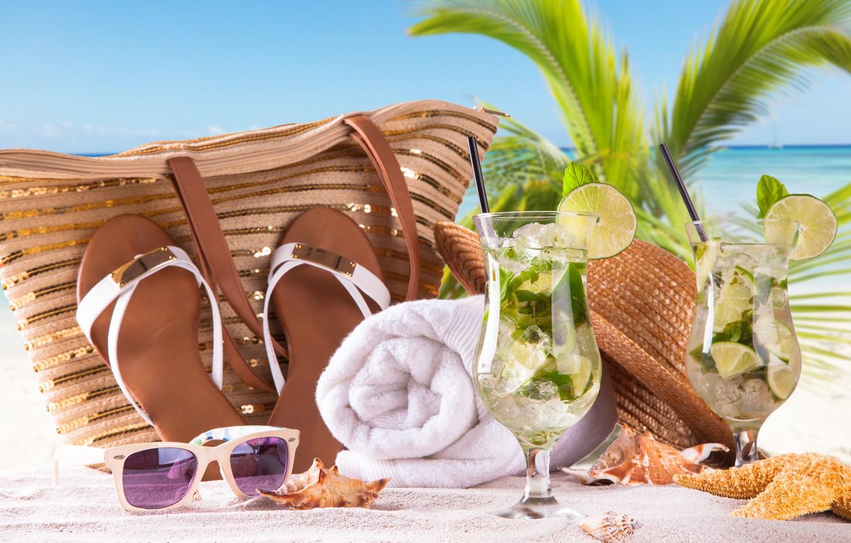 Photo wallpaper sea, beach, stay, towel, glasses, lime, summer, bag, beach, sea, sand, paradise, mojito, cocktail, Mojito, …