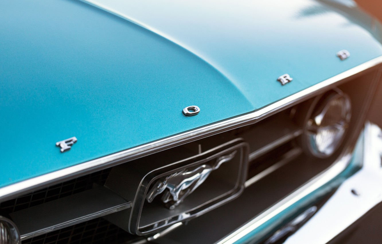 Photo wallpaper Mustang, Ford, headlight, 1967, Fastback, round