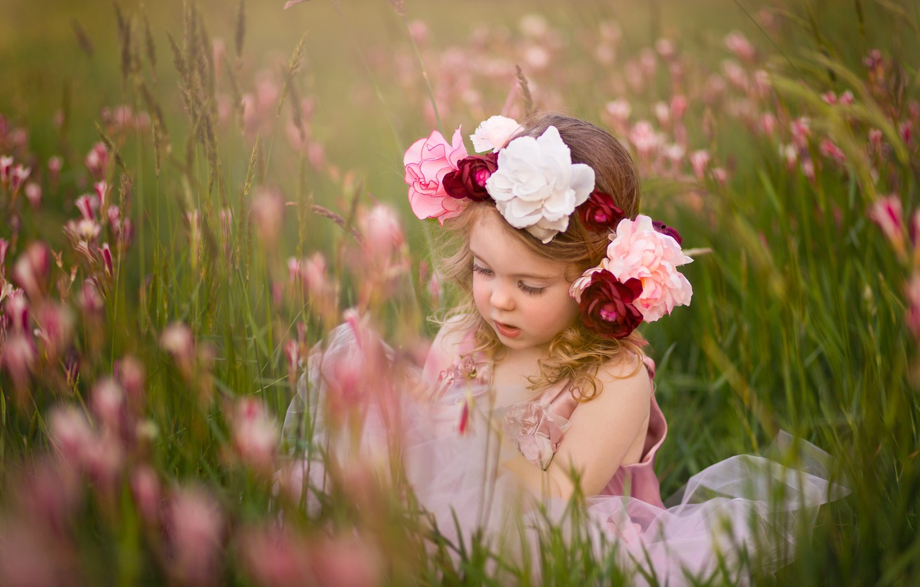 Photo wallpaper flowers, mood, meadow, girl, wreath
