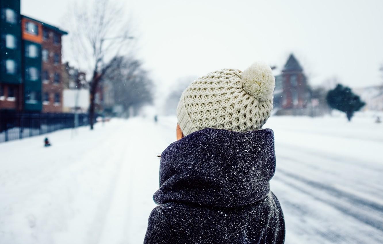 Photo wallpaper winter, girl, snow, hat
