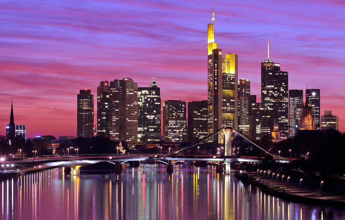 Photo wallpaper the sky, sunset, bridge, the city, lights, reflection, river, building, home, skyscrapers, the evening, Germany, ...