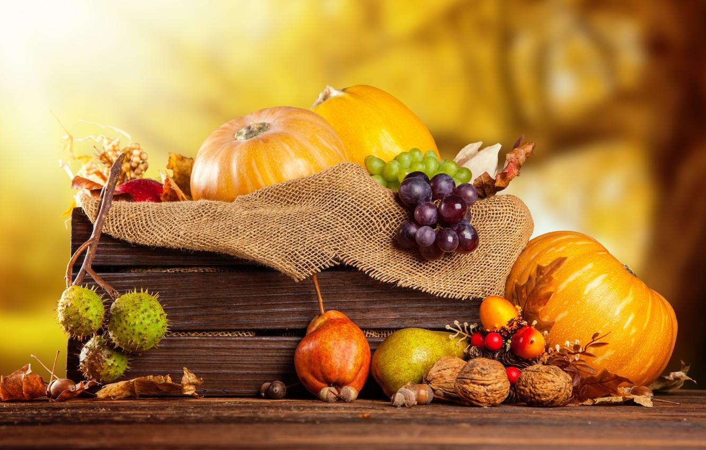 Photo wallpaper autumn, harvest, grapes, pumpkin, fruit, nuts, box, vegetables, pear, burlap, chestnuts