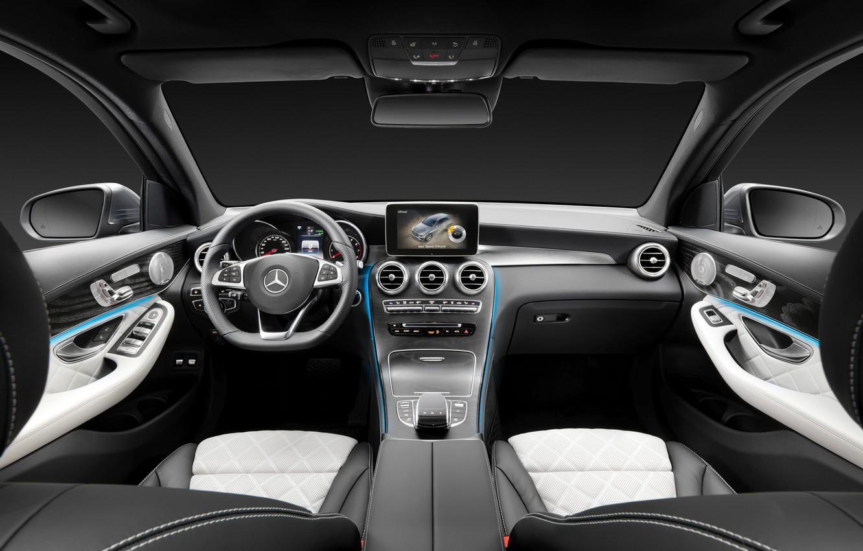 Photo wallpaper Mercedes-Benz, interior, the wheel, salon, Mercedes, the instrument panel, torpedo, 4MATIC, 2015, X205, GLC 350
