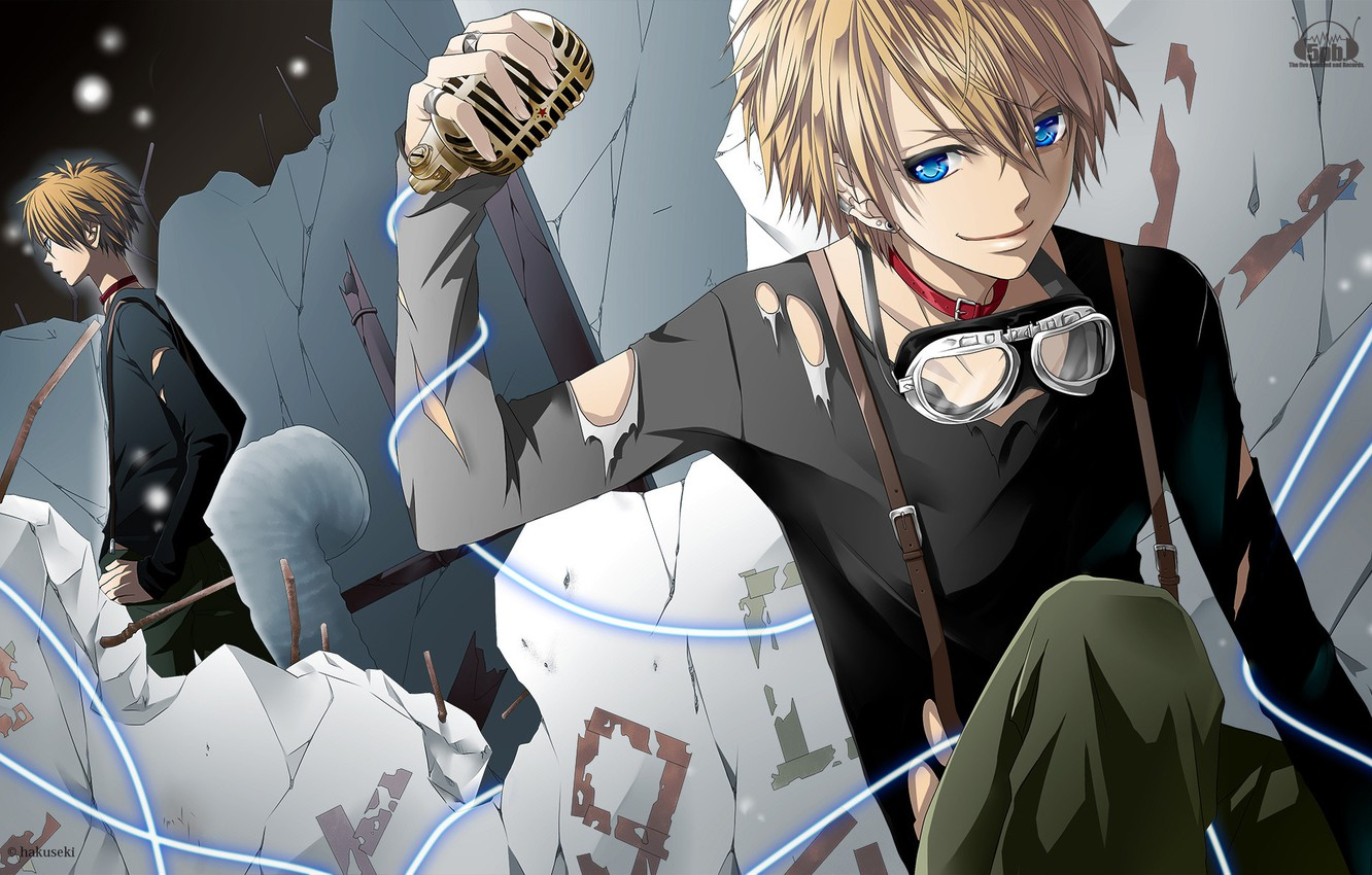 Photo wallpaper music, anime, microphone, guy, blue eyes, Vocaloid