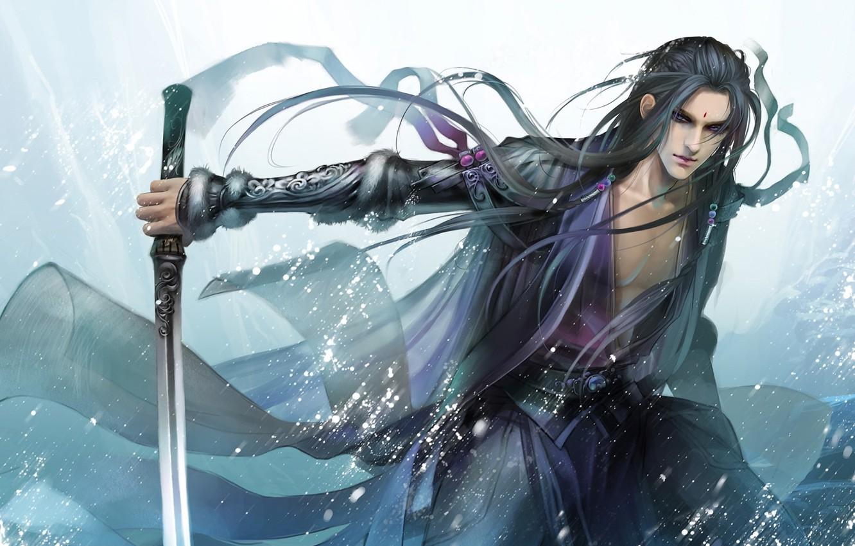 Photo wallpaper weapons, sword, katana, art, sparks, guy, heise