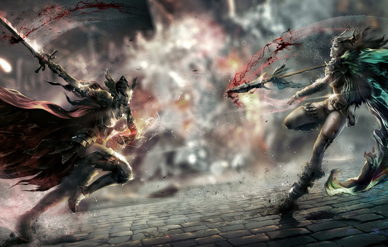 Photo wallpaper weapons, girls, blood, sword, art, spear, cloak, two, bridge, armor, the fight, perfect world