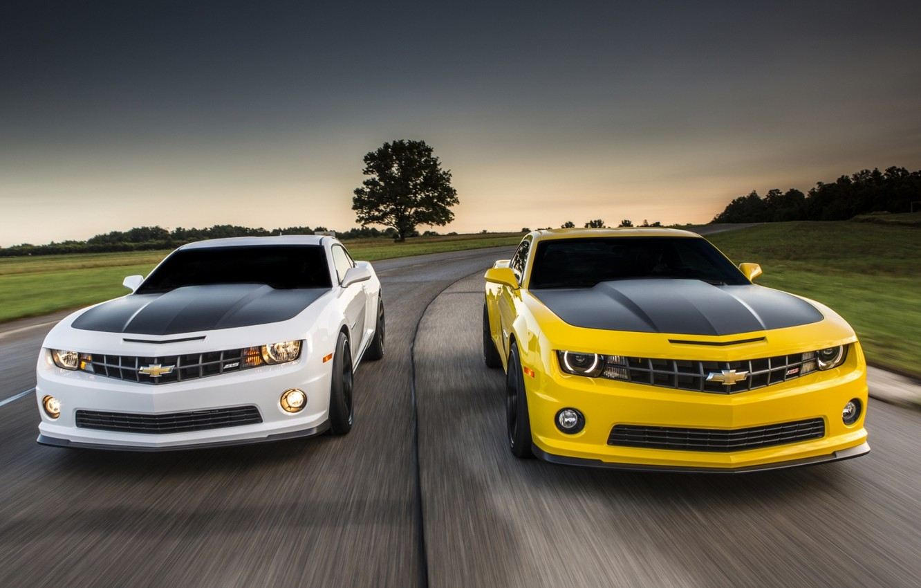 Photo wallpaper road, white, the sky, yellow, Chevrolet, Camaro, Chevrolet, Camaro, the front, Muscle car, Muscle car, …