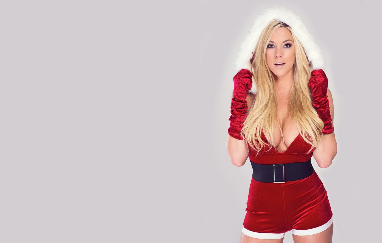 Photo wallpaper girl, sexy, merry christmas, santa, gisele, snowmaiden