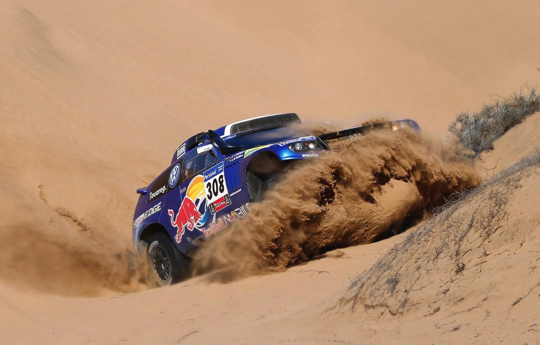 Photo wallpaper Sand, Auto, Blue, Sport, Volkswagen, Machine, Race, Red Bull, Touareg, 308, Dakar, SUV, The front, …