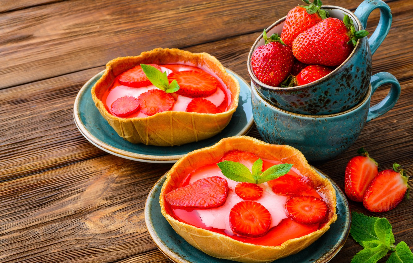 Photo wallpaper photo, Strawberry, Plate, Sweets, Cup, Food