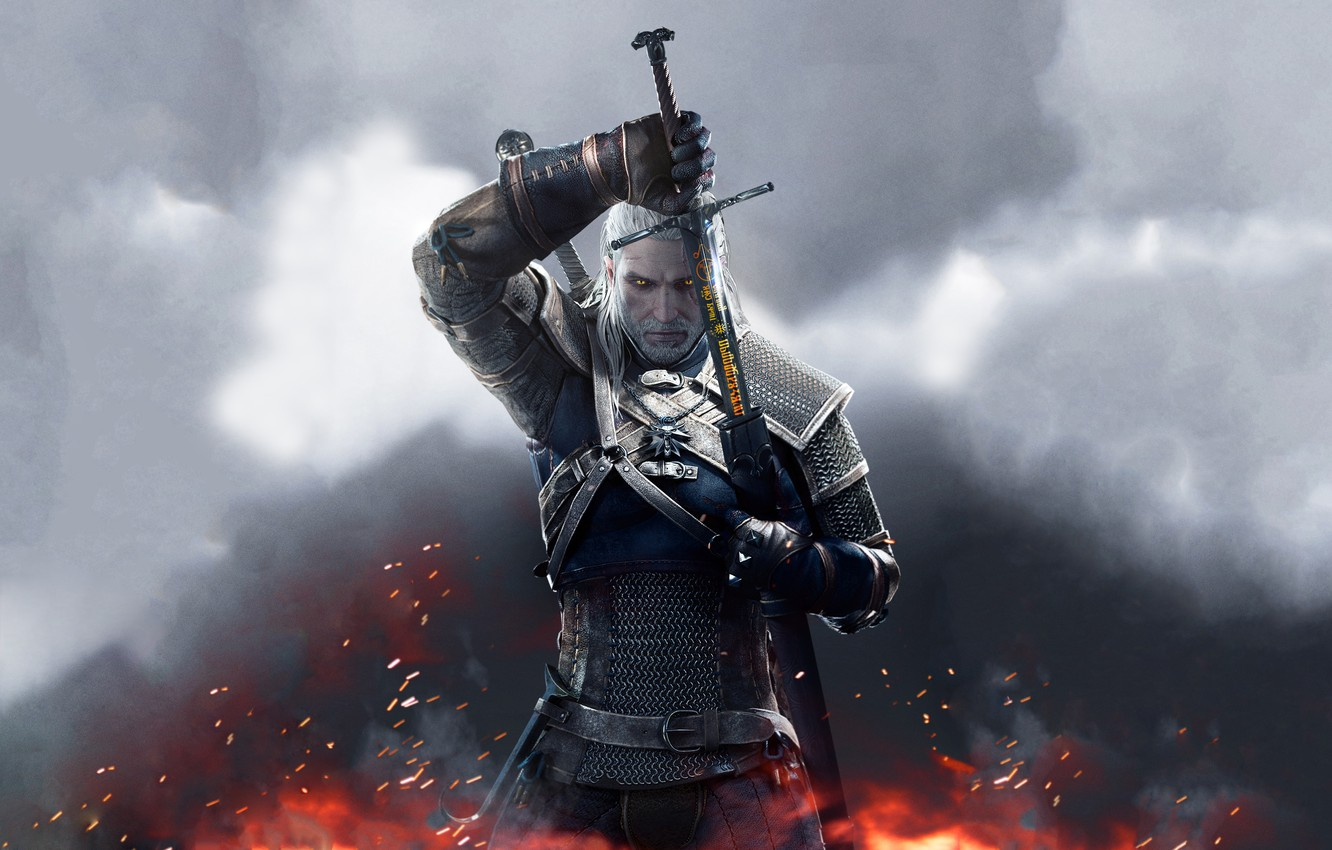 Photo wallpaper sword, armor, The Wild Hunt, Art, The Witcher, writing, CD Projekt RED, The Witcher 3: …