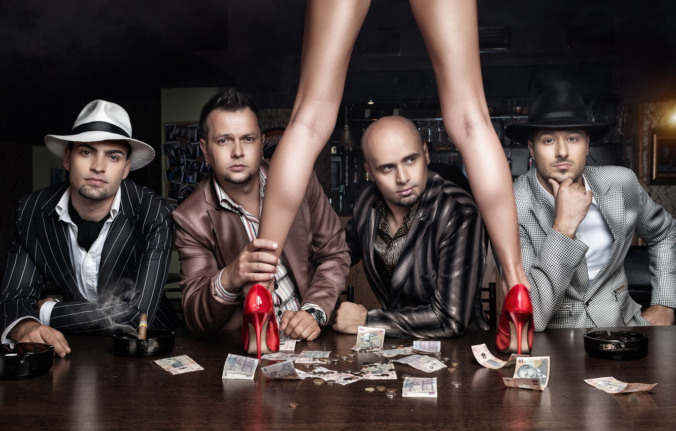Photo wallpaper girl, table, people, feet, money, shoes, men, bills, Daniel Ilinca