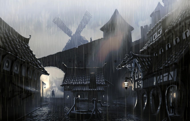 Photo wallpaper the city, rain, people, pavers, lights, well, mill, Skyrim, The Elder Scrolls V, concept atr