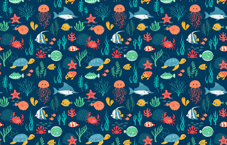 Photo wallpaper sea, fish, turtle, Medusa, shark
