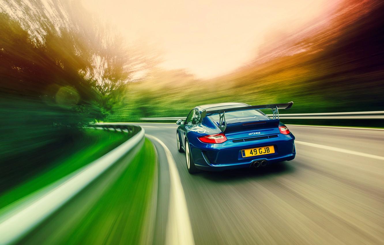 Photo wallpaper road, speed, Porsche, GT3RS, 997.2