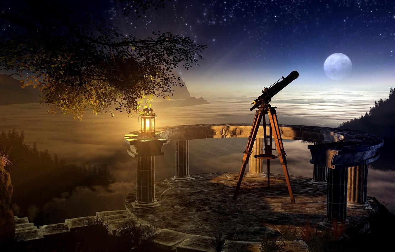 Photo wallpaper the sky, grass, night, tree, the moon, lamp, stars, Bay, branch, telescope, skygazing