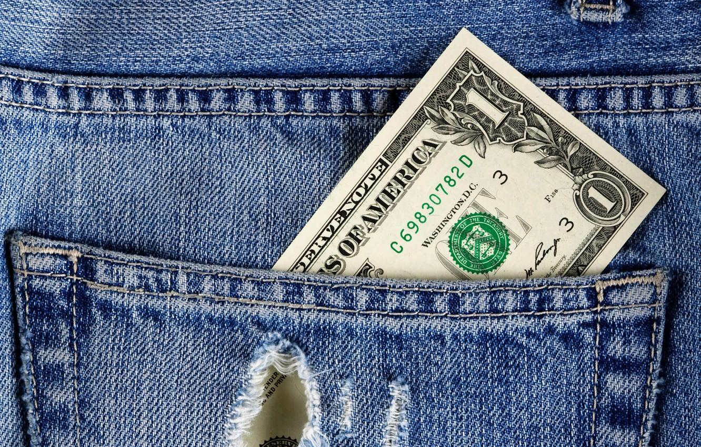 Photo wallpaper money, jeans, dollar, fabric, pocket