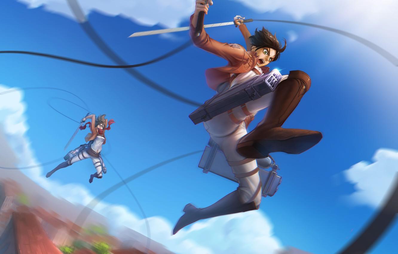 Photo wallpaper the sky, girl, clouds, sword, anime, art, guy, the battle, renyu1012, shingeki no kyojin, mikasa …