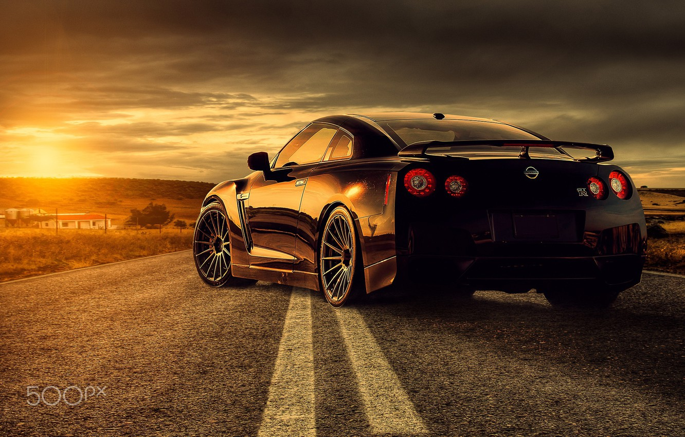 Photo wallpaper road, the sun, light, GTR, Nissan