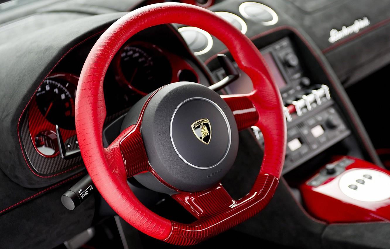 Photo wallpaper Lamborghini, red, Car, interior, dashboard, instrument panel