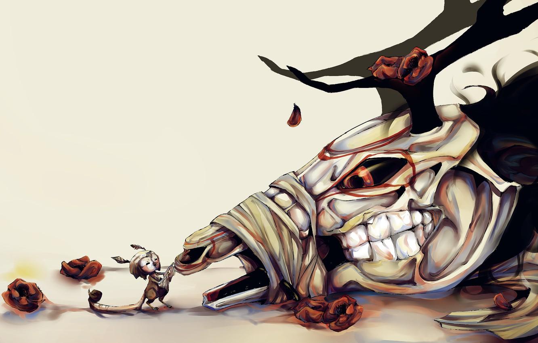 Wallpaper Death Skull Roses Deer Horns Images For