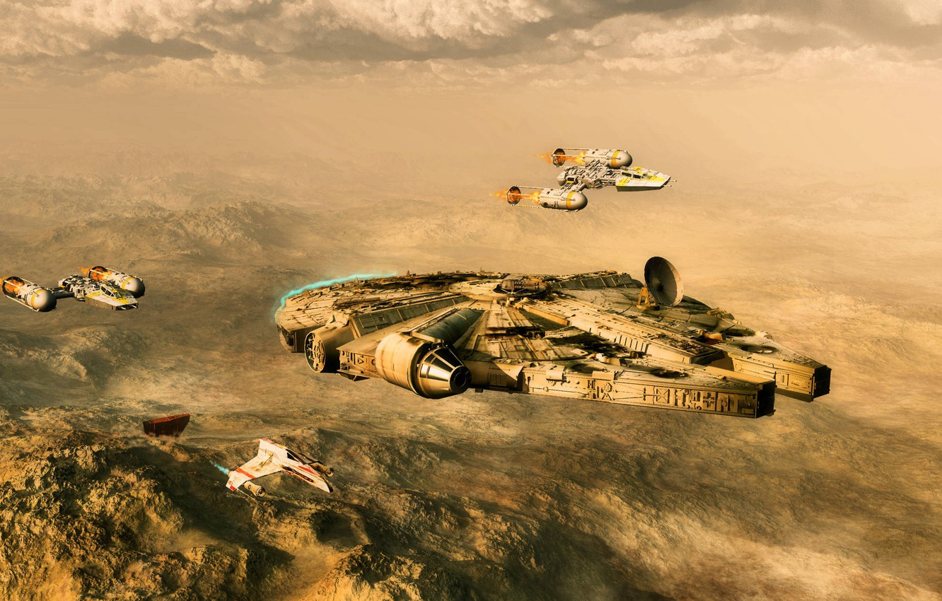 Photo wallpaper desert, planet, fighters, star wars, spaceship, millenium falcon