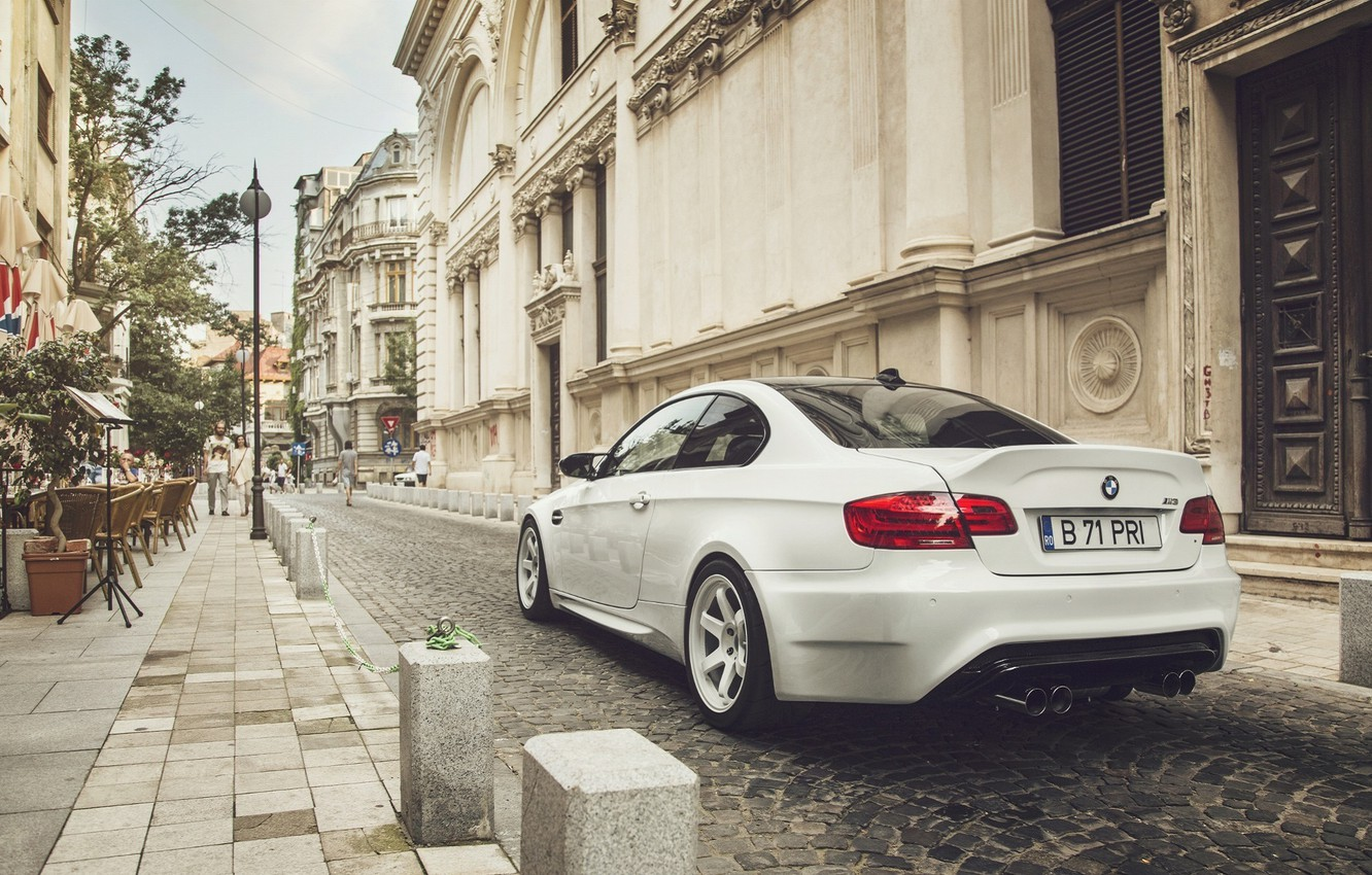 Photo wallpaper BMW, City, Car, White, E92, Tuning, Sport, Rear