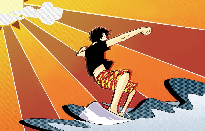 Photo wallpaper wave, the sun, surfing, one piece, straw hat, Luffy