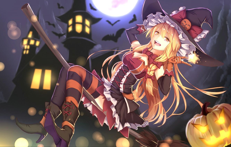 Photo wallpaper flight, night, smile, castle, boots, pumpkin, Halloween, corset, witch, broom, bats, Halloween, bow, the full …