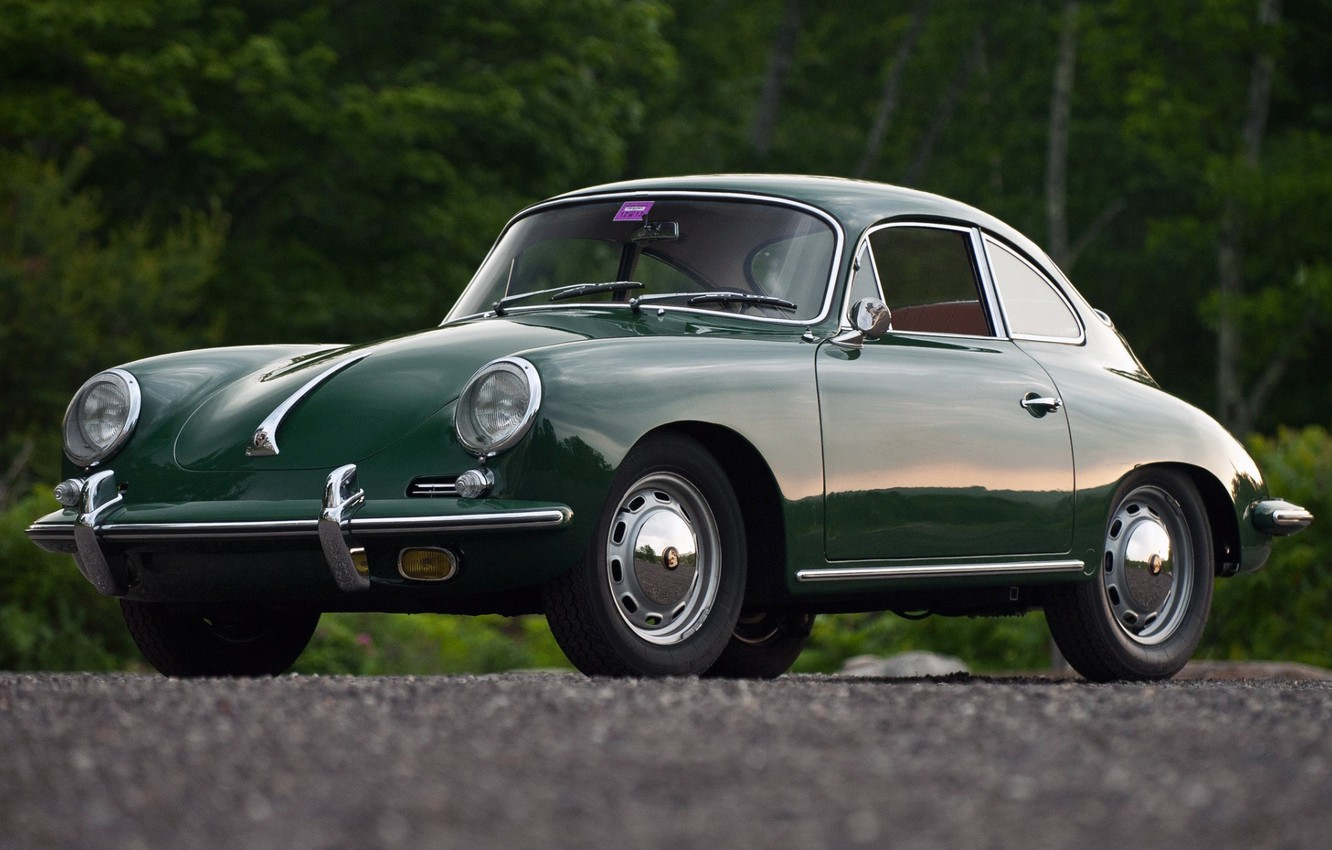 Photo wallpaper background, coupe, Porsche, green, Porsche, classic, Coupe, the front, 1964, beautiful car, 1600, 356C, by …