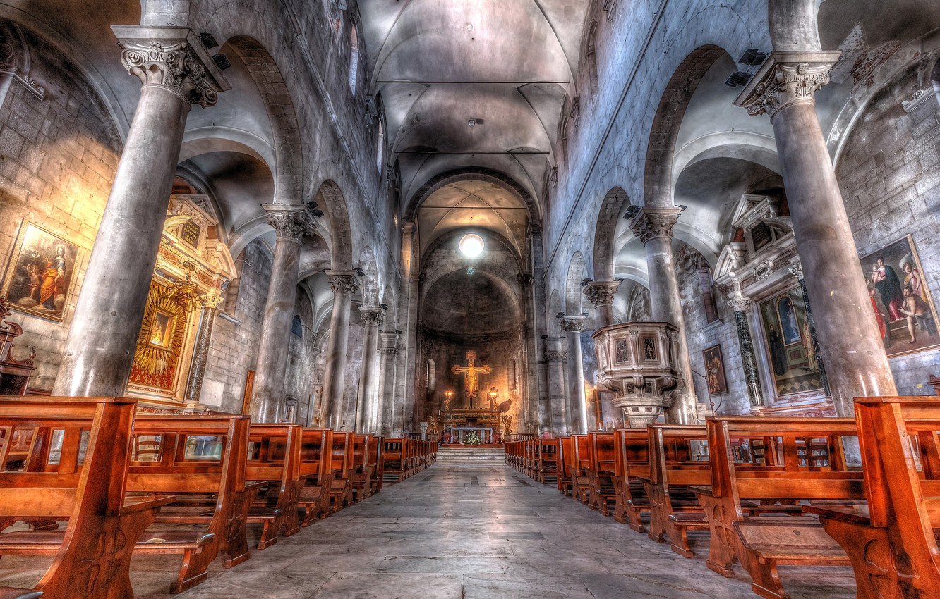 Photo wallpaper hdr, Italy, columns, architecture, religion, Tuscany, the nave, Lucca, the Church of San Michele in …