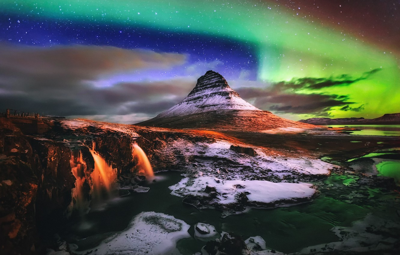 Photo wallpaper light, night, Northern lights, waterfalls, Iceland, mountain Kirkjufell