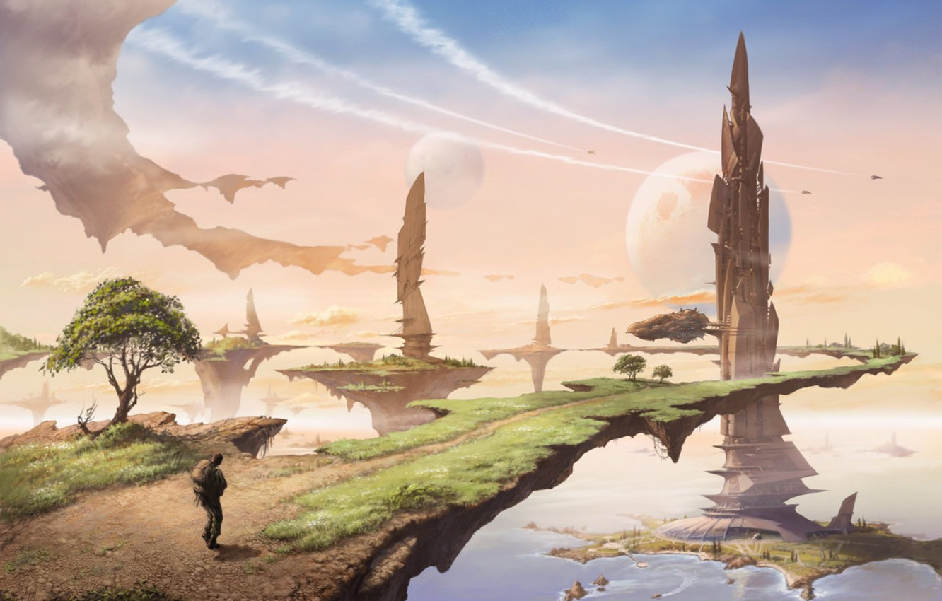 Wallpaper Man Planets Towers Magic Land Images For