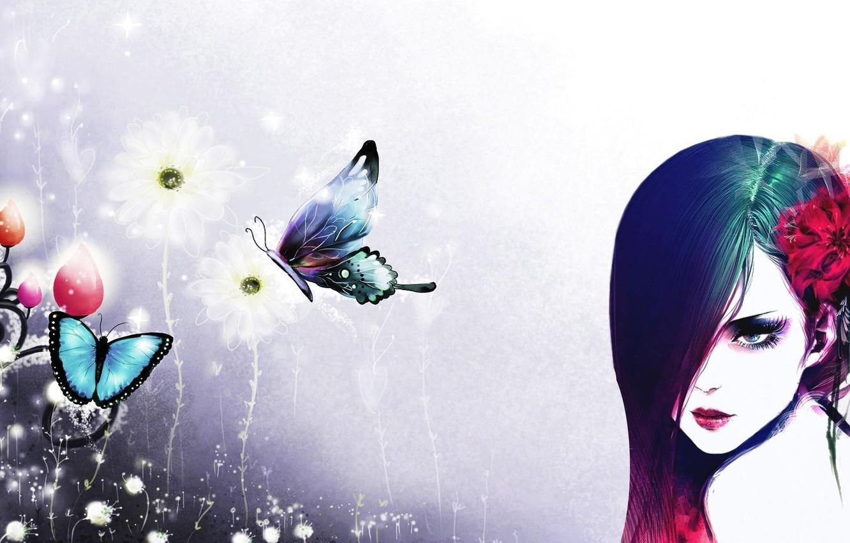 Photo wallpaper girl, butterfly, flowers, white background, artwork