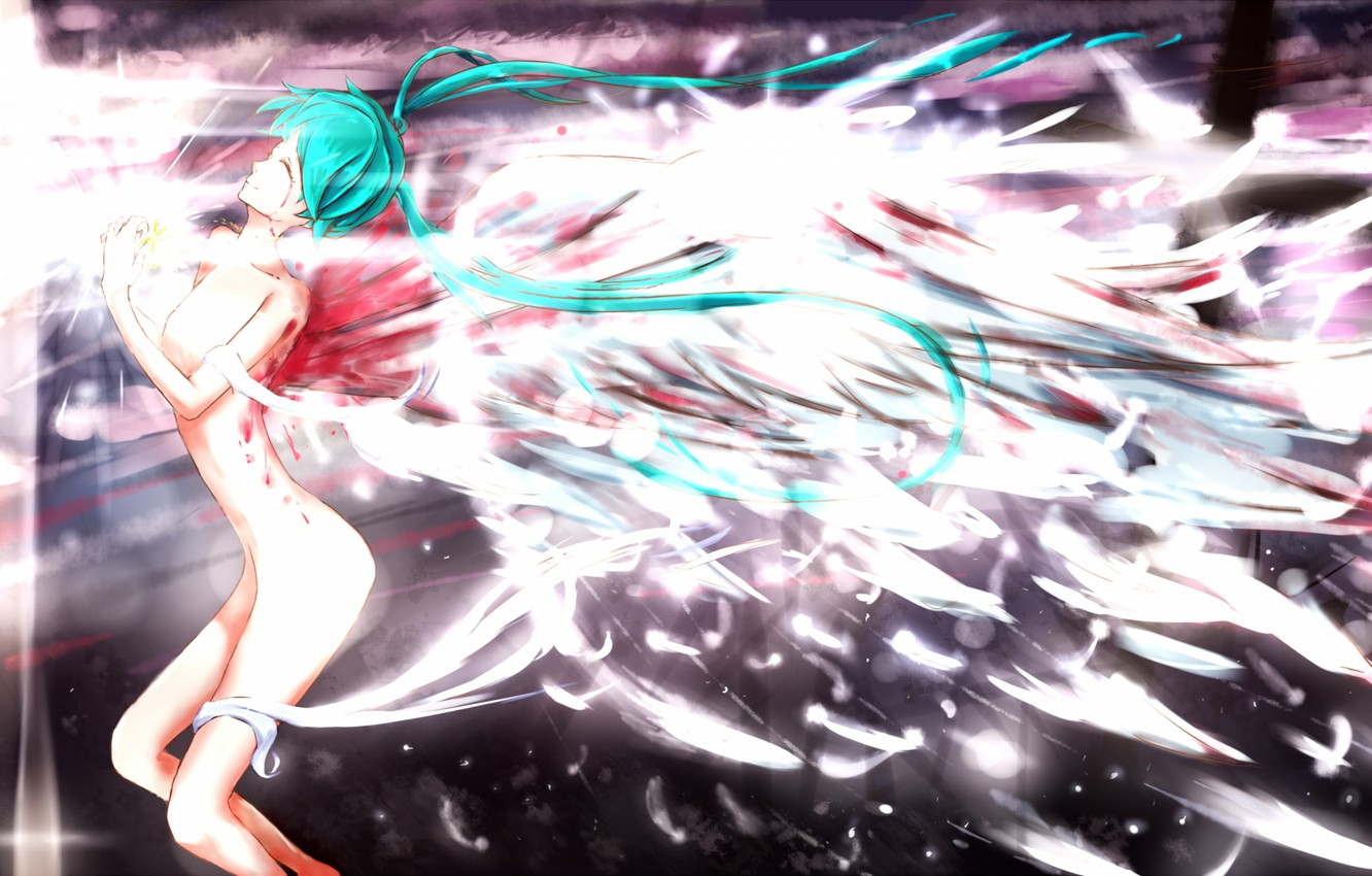 Photo wallpaper girl, blood, wings, angel, feathers, art, vocaloid, hatsune miku, Vocaloid, naked, qiangqiud-arc