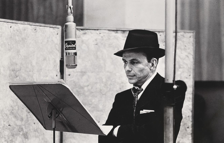 Photo wallpaper retro, hat, costume, tie, actor, black and white, male, microphone, jacket, legend, singer, Studio, Capitol, …