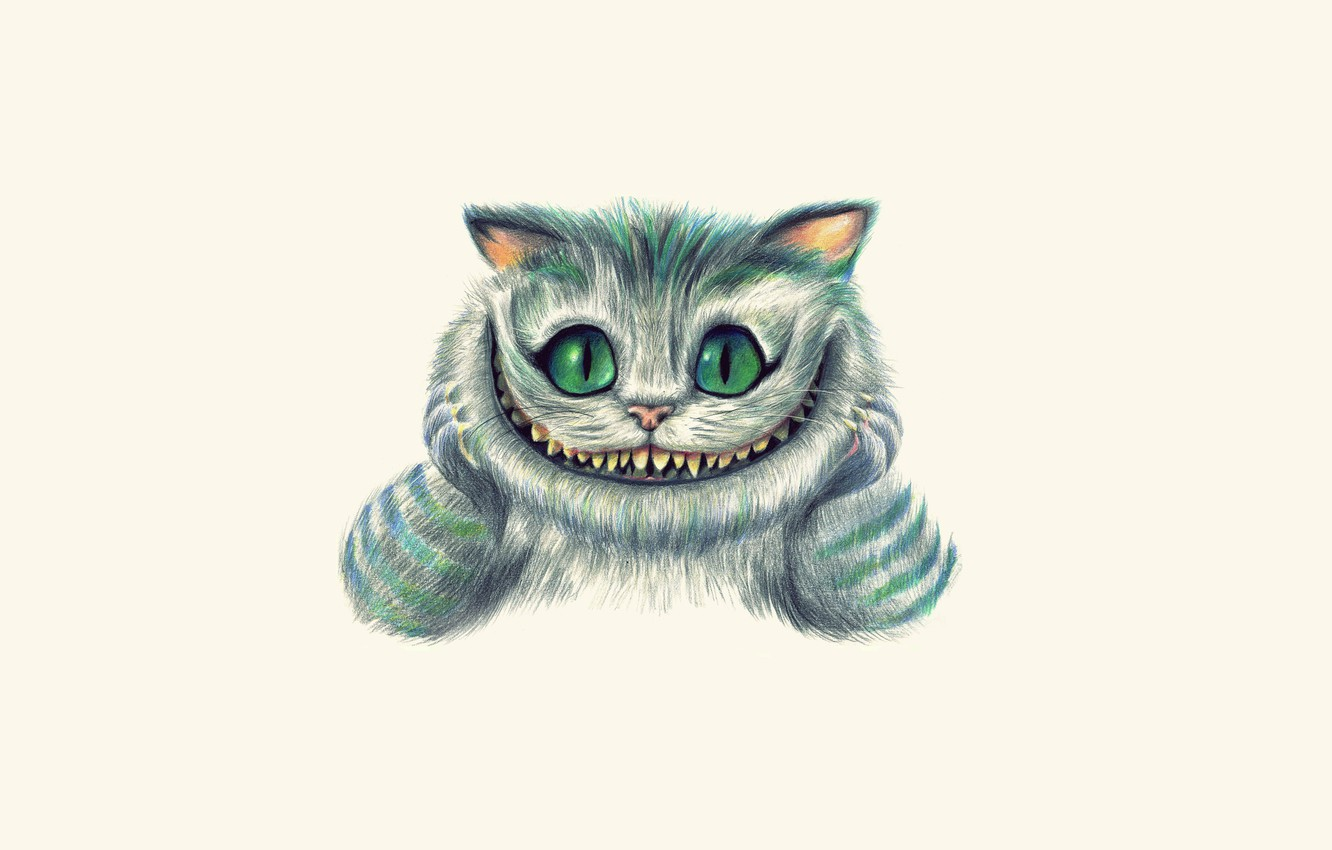 Photo wallpaper face, smile, figure, art, Alice in Wonderland, painting, light background, Cheshire Cat, Cheshire Cat, Alice's …