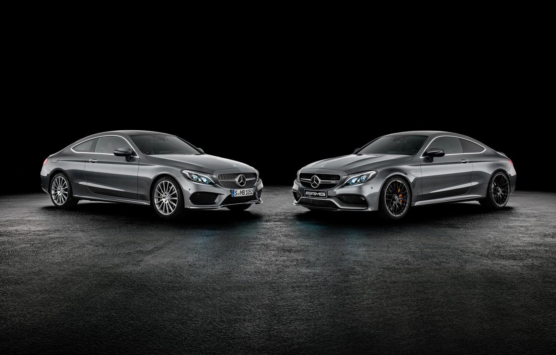 Photo wallpaper coupe, Mercedes-Benz, black background, Mercedes, Coupe, C-Class, C205