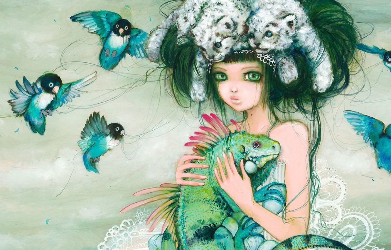 Photo wallpaper girl, birds, fantasy, lizard, art, hairstyle, parrots, the cubs, iguana, lovebird, camilladerrico