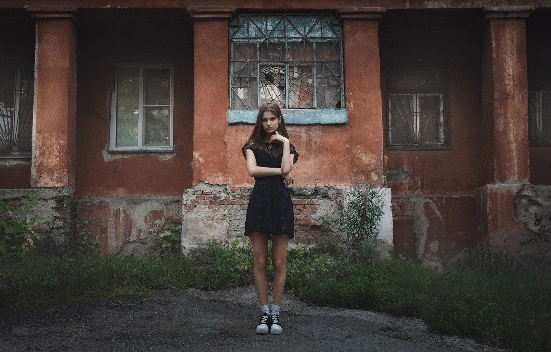 Photo wallpaper grass, look, girl, house, mood, street, model, clothing, the building, Windows, sneakers, portrait, dress, socks, …