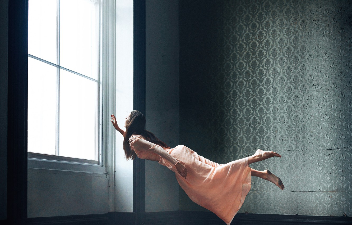 Photo wallpaper girl, room, levitation, Bird Man