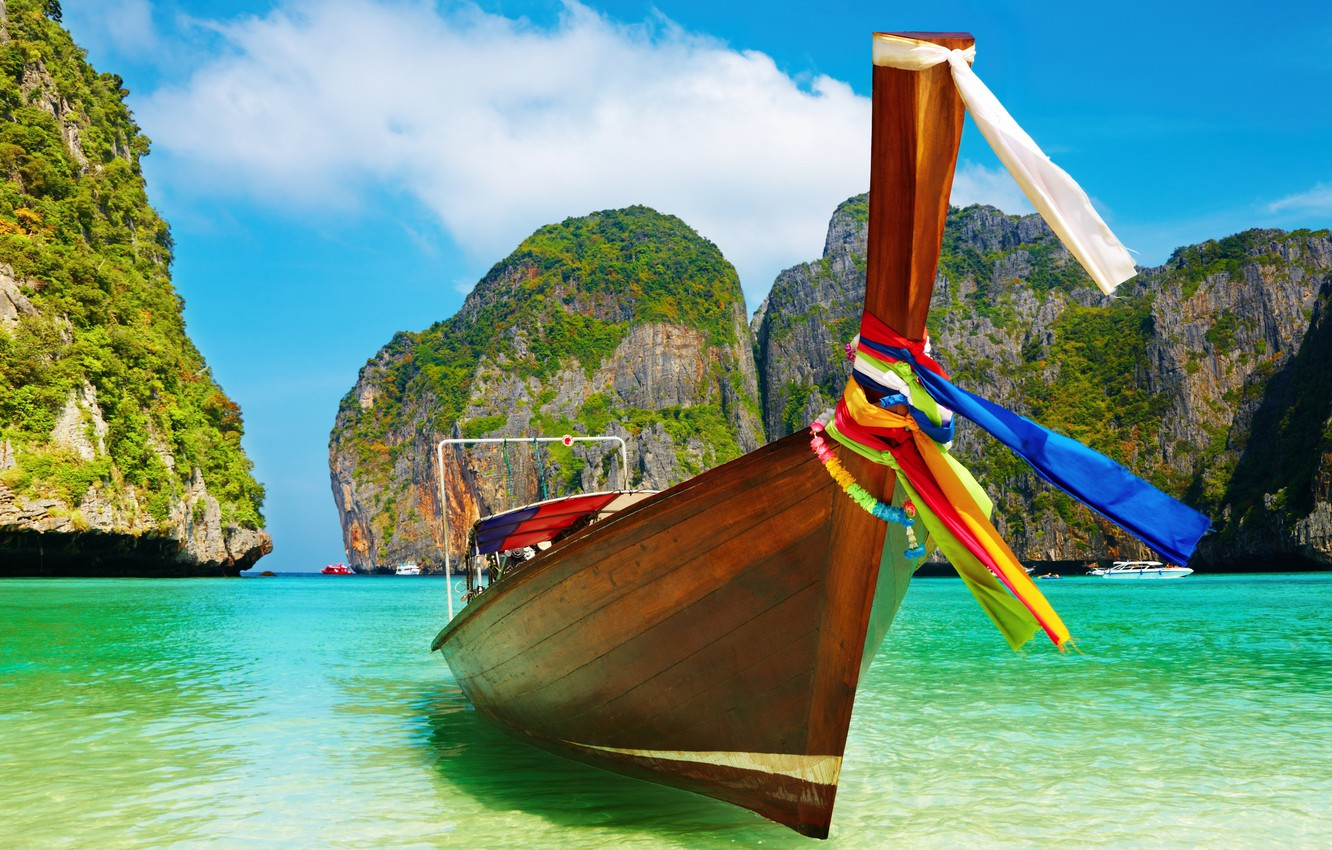 Photo wallpaper beach, the sky, color, water, tape, blue, boat, day, colorful, Paradise, blue, Summer boat