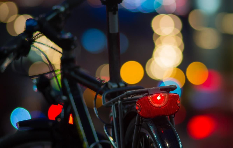 Photo wallpaper macro, night, bike, lights, the evening, colorful, bokeh